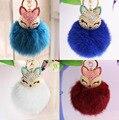 New Gift Cute Bling Rhinestone Fox Real Rabbit Fur Ball Fluffy Keychain Car Key Chain Ring Pendant For Bag PomPoms Ball Bag