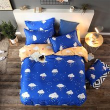 Blue Yellow Kids Bed Linen 1.5m 1.8m 2m Bedsheet Duvet Cover Pillow case 3/4 pcs Bedding Sets King Queen Twin Double Single Size(China)