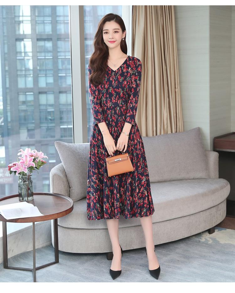 Autumn Winter New 3XL Plus Size Vintage Midi Dresses 2018 Women Elegant Bodycon Floral Dress Party Long Sleeve Runway Vestidos 27