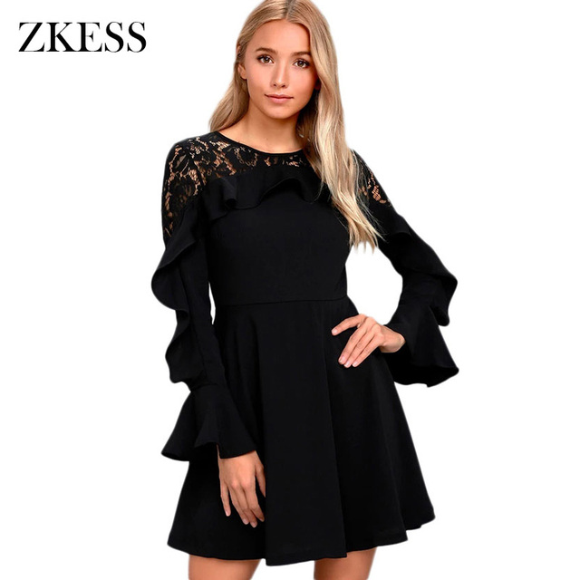 41250f62f4 US $30.07 |ZKESS Women Black Long Flare Sleeved Skater Dress Winter New O  Neck Sexy Sheer Lace Back Patchwork Mini Dresses Zipper LC220164-in Dresses  ...
