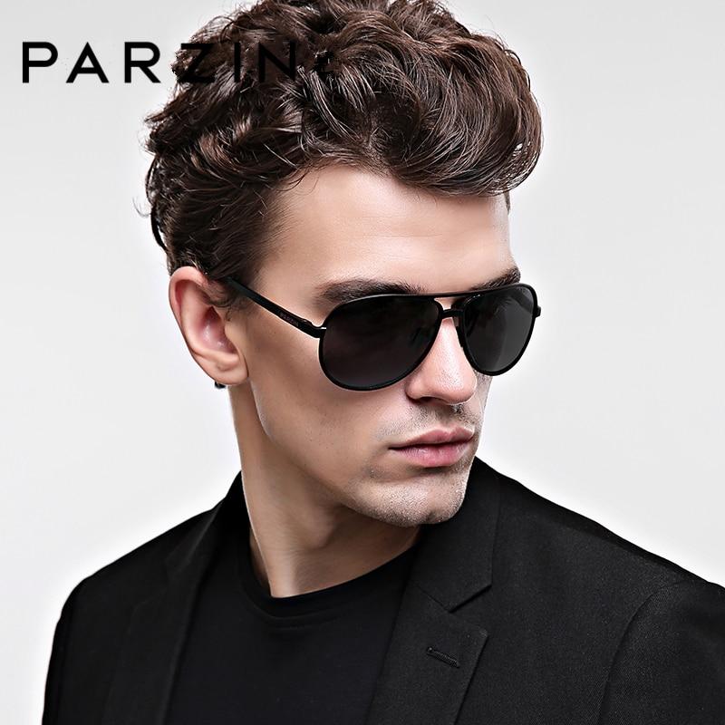PARZIN Brand Cool Pilot solglasögon för högsta kvalitet Legering ram polariserade körning solglasögon för män glasögon tillbehör