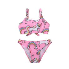 Купальник для маленьких девочек, детский купальник-бикини, детский цельный купальник из двух предметов, красивый женский пляжный костюм