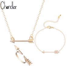 Chandler 2017 Brand Original Arrow Pendant Necklaces & Ring & Bracelet Simple Love Jewelry Set India Metal Statement Accessaries(China)