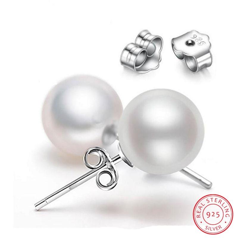 100% Wahr 925 Sterling Silber 6mm/8 Mm/10 Mm Süßwasser Zucht Perle Taste Kugel Stud Ohrringe Für Frauen Als Beste Geschenke Jewerly Ideales Geschenk FüR Alle Gelegenheiten