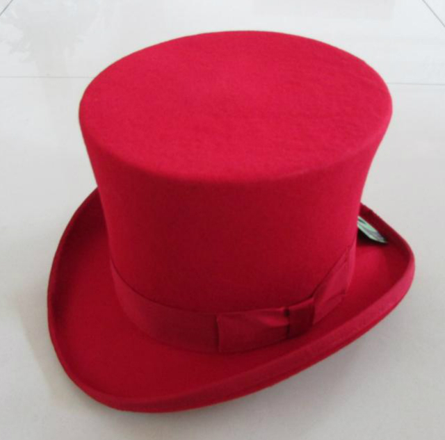 100% Wool Vintage Top Hat 18cm Tall Red Crown Hat Retro Victorian Magic Hat for Adult Women Men