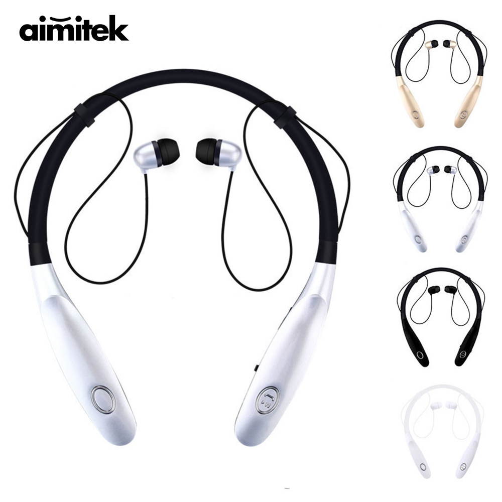 Aimitek HBS-900s Wireless Bluetooth Headsets Sports Earphones Neckband Headphone Magnetic Bass Music Earbuds with Mic for Phone