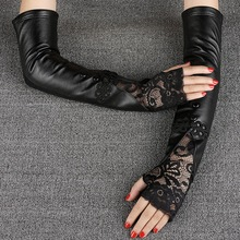 Fashion Black Sheepskin Gloves Female 40cm Long Arm Warmers Lace Chinese knot Women Semi-Fingers Gloves Genuine Leather Mittens