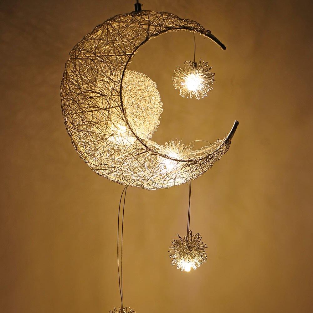 Mond Sterne LED Anhänger Lampe Kronleuchter Decke Licht Kinder Kinder Schlafzimmer