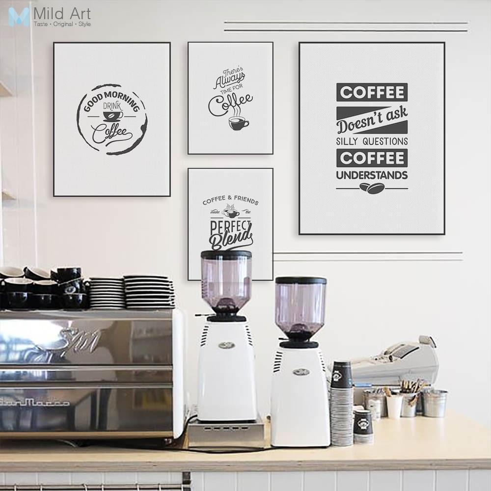 Schwarz Und Weiss Kaffee Zitieren Typografie Poster Drucken Vintage