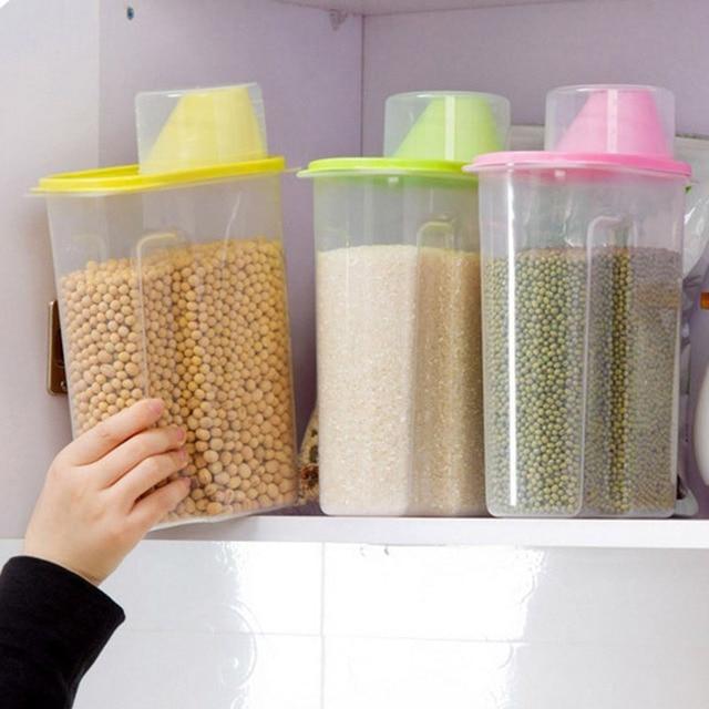 2 5l transparent plastic storage box food storage box kitchen container dry dried food storage box