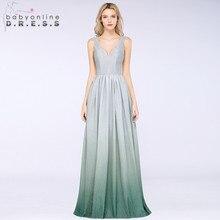 60d6197a110 Sexy Helle Seide Ombre Prom Kleider Lange 2019 Elegante V Hals  Reflektierende Abend Party Kleider Gala