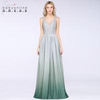 Sexy Bright Silk Ombre Prom Dresses Long 2019 Elegant V Neck Reflective Evening Party Dresses Gala Jurken Vestido de Festa Longo