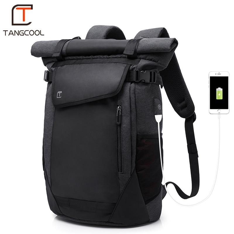Tangcool moda męska plecak USB wielofunkcyjne ładowania plecak mężczyzn 17.3 cal plecaki na laptopa na świeżym powietrzu plecak szkolny dla uczniów w Plecaki od Bagaże i torby na  Grupa 1