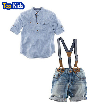 2020 New gentleman children suits fashion baby boys clothing kids 2 pcs set casual shirt + jeans with braces retail CCS064 1