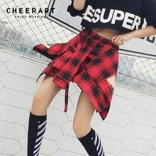 Cheerart Asymmetrical Dance Buffalo Plaid Skirt Women Punk Rock Tie Summer Irregular Mini Skirt Streetwear цены