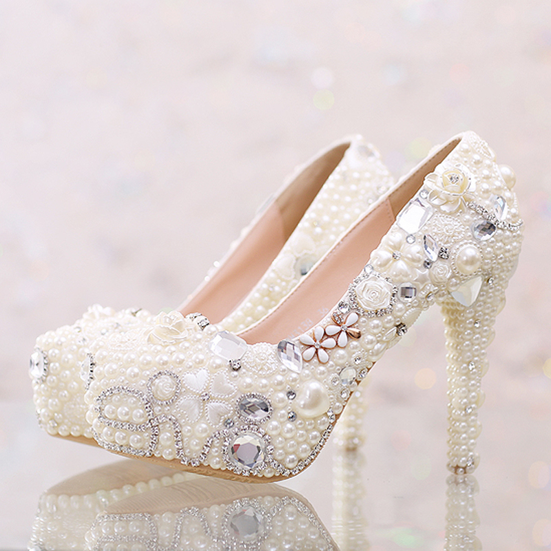 Handmade High Heels Elegant Rhinestone Platform Bridal Dress Shoes Adult Ceremony Party Pumps Pretty White Pearl Wedding Shoes new arrival white wedding shoes pearl lace bridal bridesmaid shoes high heels shoes dance shoes women pumps free shipping party