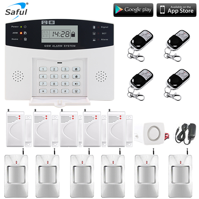 ЖК-дисплей Беспроводная GSM сигнализация Система русский и английский испанский французский голос SMS и датчик дыма домашняя охранная сигнал...