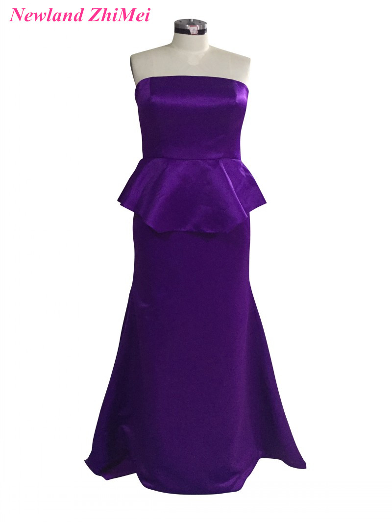 US $94.3 18% OFF Plus Size Purple Prom Dresses Simple Design Long Strapless  Satin Woman Evening Party Formal Gown vestido formatura-in Prom Dresses ...