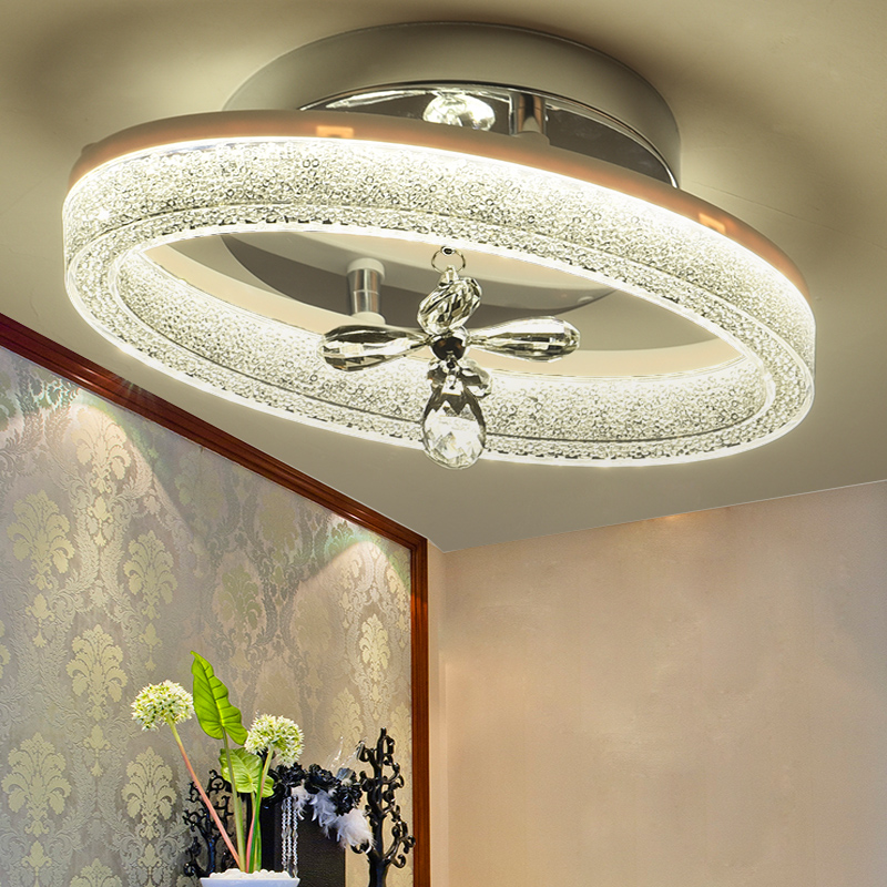 Modern Oval Crystal Iron LED Ceiling Lights Aisle Corridor Porch Balcony Stairs Lamps Lighting for home decoration luminaire aisle lamp ceiling lamps hallway lighting crystal lustre luminarias para sala modern led crystal ceiling lights corridor balcony