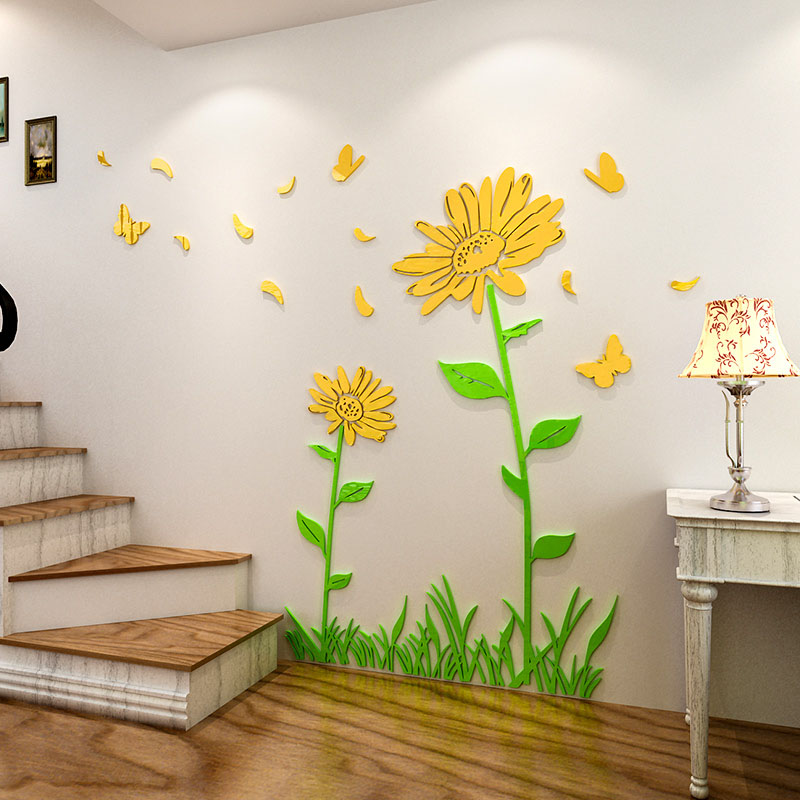 Beautiful sunflowers design acrylic wall sticker 3d wall stickers for living room kitchen for Beautiful wall stickers for living room