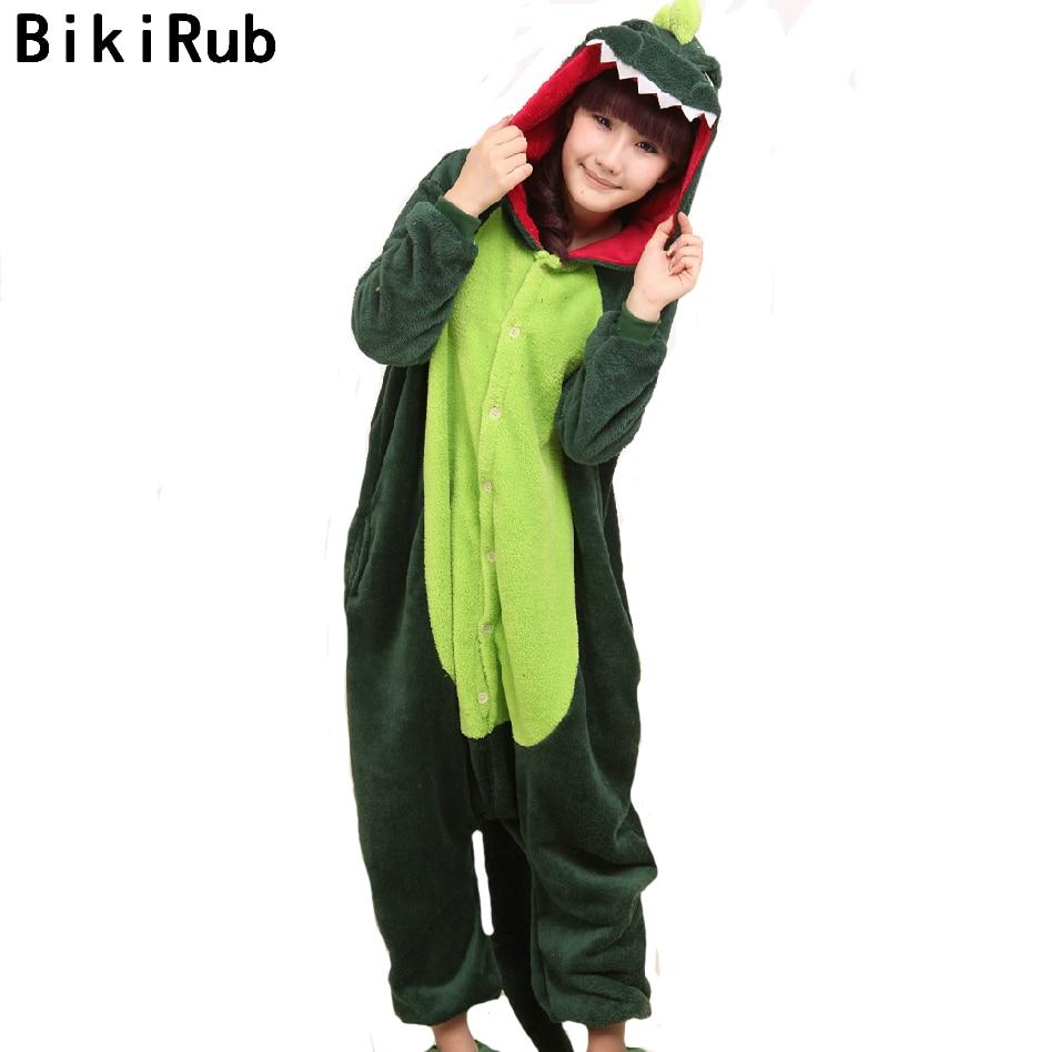 BIKIRUB Unisex Adult   Pajamas   Full Sleeve Hooded Sleepwear Women Cute Green Dinosaur Cartoon   Pajama     Set   Flannel Animal Home Wear