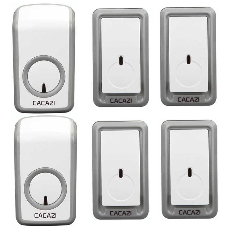 CACAZI Wireless door bell AC 110-220V 350M remote 4 Waterproof buttons+2 receivers 315 MHz without interference EU/US/UK plug cacazi ac 110 220v eu us uk plug wireless doorbell 1 waterproof button 3 receivers 300m remote door bell 38 chimes door ring