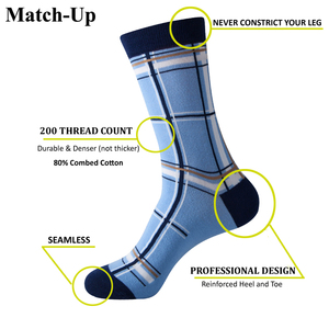 Image 2 - Match Up Men Colorful Blue Style Cotton Socks Mustache and Skull Socks  (5 Pairs / lot )