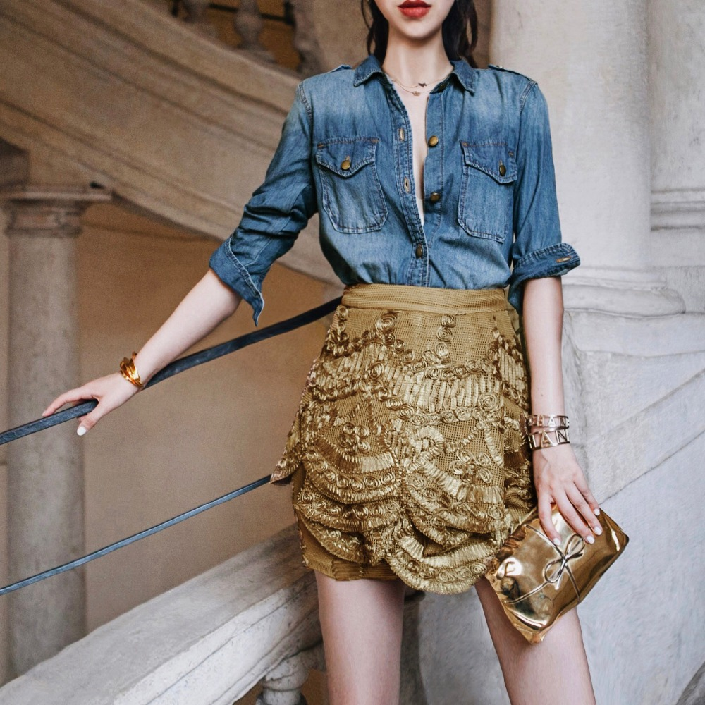 Cakucool New Designer Golden Skirt Gold Lurex Lace Embroid Multi Layers Florals Heavy Pencil Skirts Chic High Waist Mini Skirt
