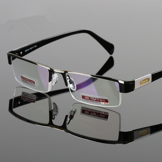 fb646fa5d9 Men Titanium Alloy Non Spherical Hard Resin Lens Half Frame Presbyopic Reading  Glasses With Box Diopter
