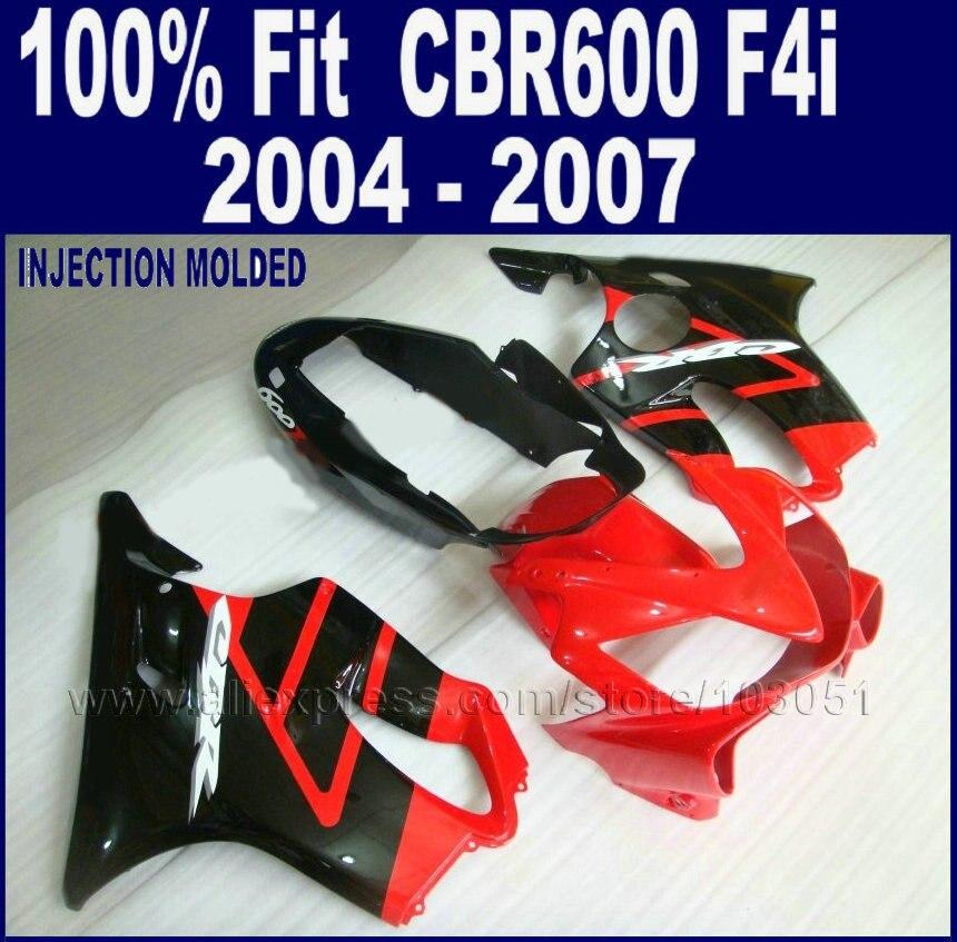 части инъекции обтекатели ABS для Хонда CBR 600 f4i 2004 2005 2006 2007cbr 600 f4i 04 05 06 07 красный черный обтекатель набор комплект