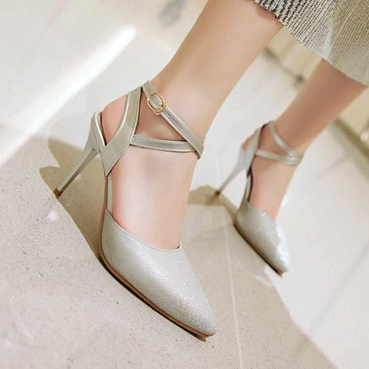 Große Größe High heels sandalen frauen schuhe frau sommer damen Schlanke absätzen pailletten frauen schuhe