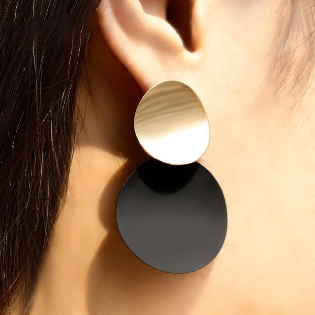 BICUX Vintage Acrylic Statement Drop Earrings for Women 2019 Fashion Jewelry Korean Metal Geometric Gold Hanging Dangle Earring
