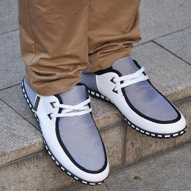 Fashion Sneakers Men Casual Shoes Leather Driving Flats Shoes