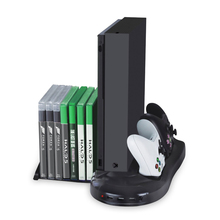 Vertical Stand Cooling Fan with Game Discs Storage & Dualshock Charger, Controller Charging Station for Xbox One X