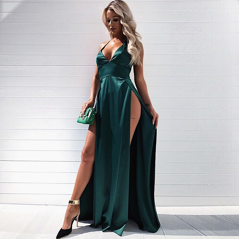 2 High Split Satin Maxi Dress Deep V Neck Backless Cocktail Party Dress Nigh Club Long Dress