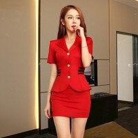 Women suits Slim summer V neck Short sleeve Blazers skirt 2 pieces set Sexy Women skirt suits Women set suits 2328