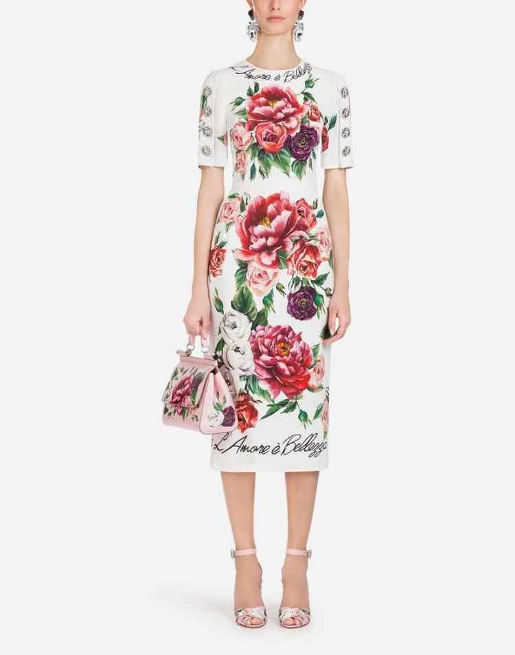 2019 pista de verão nova moda feminina strass botão peônia rosa impressão vestido manga curta saco hip vestido longo alta qualidade