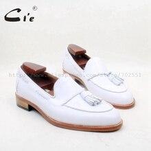 CIE круглый носок натуральная кожа подошва на заказ клей ручной работы чисто белые кисточки слипоны мужская обувь № Лоферы 159