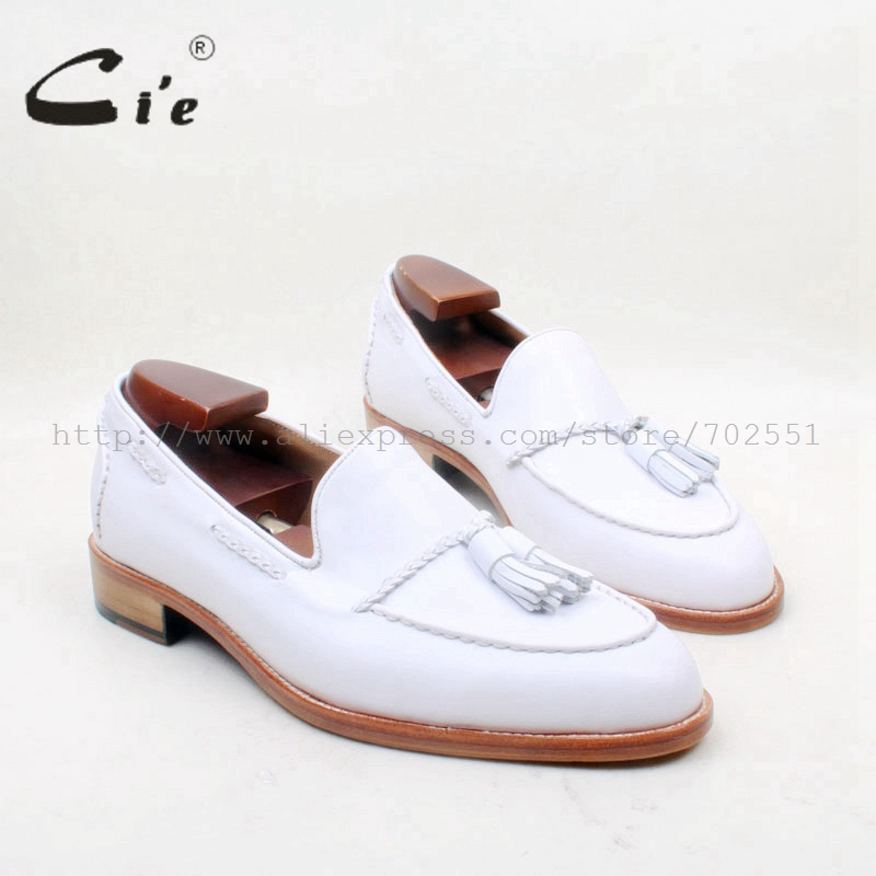 cie Round Toe 100% Genuine Leather Outsole Bespoke Adhesive Craft Handmade Pure White  Tassels Slip-on Men's Shoe No.loafer 159 cie free shipping round toe adhesive craft handmade tassel slip on casual calfskin blue purple leather men s shoe no loafer 53