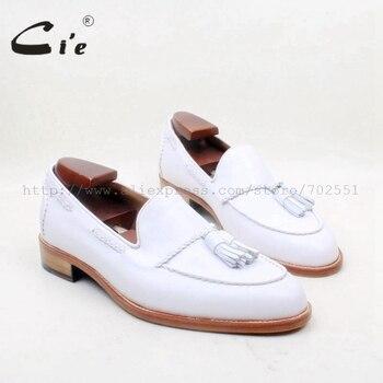 цена на cie Round Toe 100% Genuine Leather Outsole Bespoke Adhesive Craft Handmade Pure White  Tassels Slip-on Men's Shoe No.loafer 159