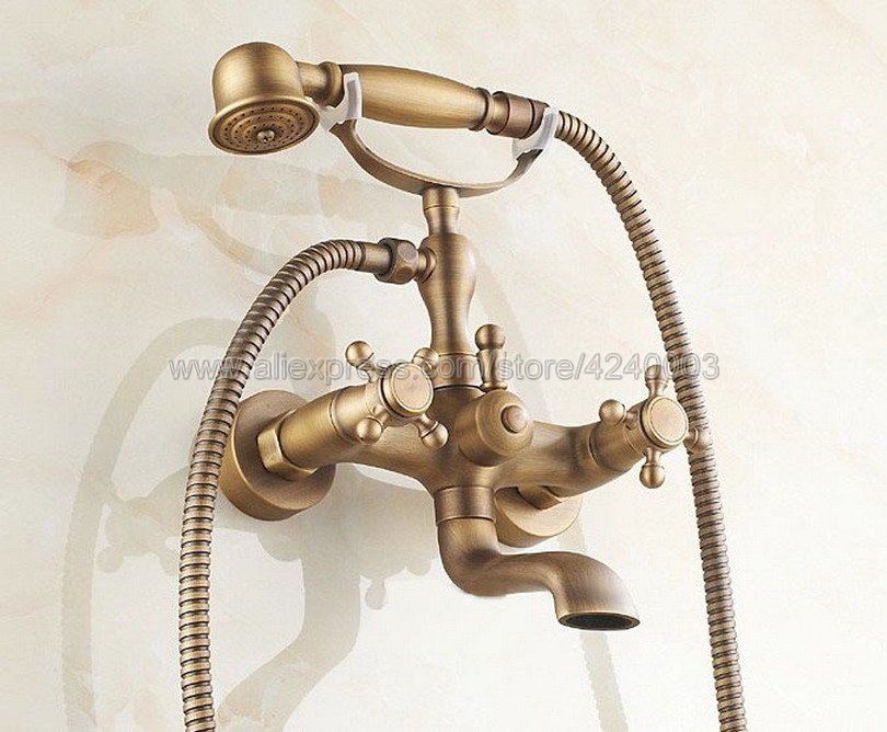 Antique Brass Wall Mount Bathtub Tub Mixers Two Cross Handles Bathroom Bath Shower Faucet with Handshower Ktf151 wall mounted bright chrome bathtub sink faucet two cross handles bathroom handheld shower mixers swivel tub spout
