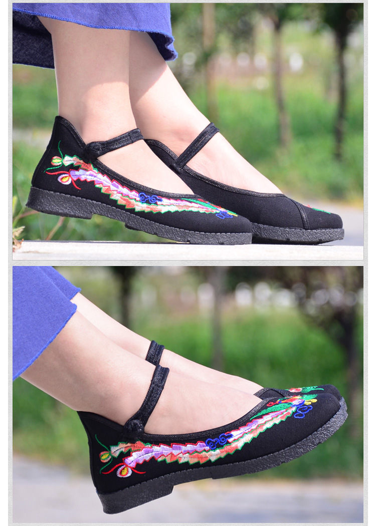 Fashion 2017 Old Peking Cloth Shoes, Chinese Style Totem Flats Mary Janes Embroidery Casual Shoes, Red+Black Women Shoes S189 (30)