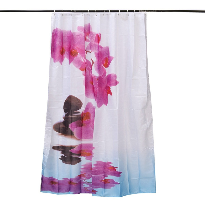 Abstract Decor Shower Curtain Geometrical Smoke Like Striped Huge Flower Fl Design Artwork Fabric