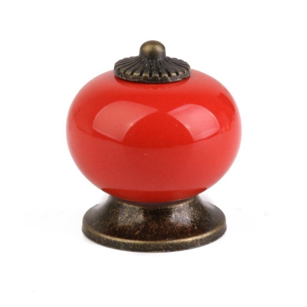 10pcs/Lot Ceramic Round Simple Cabinet Pull Handle Cupboard Drawer Ball Knob red ews 2pcs white round ceramic cupboard knob drawer cabinet pull handle l