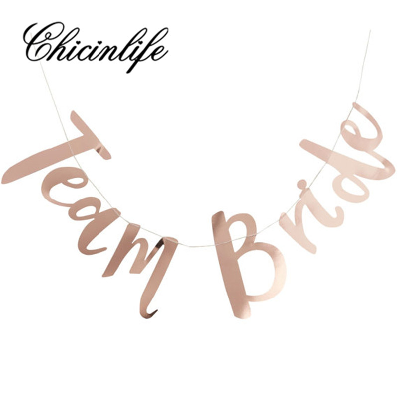 Chicinlife 1Set gold Team Bride Signs Banner Hen Bachelorette Party Photo Booth Props Garland Bridal Shower reception supplies