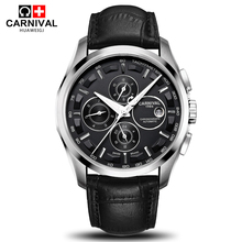 2016 New Carnival military sports automatic mechanical brand watch sapphire full steel mens luxury leather strap watches relogio