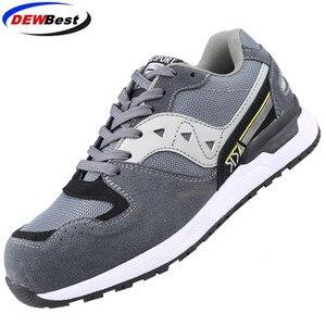 Image 5 - DEWBEST Mens Safety Shoes Steel Toe Construction Protective Footwear Lightweight 3D Shockproof Work Sneaker Shoes For Men