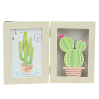 Creative Wooden Two Floding Cactus Photo Frames Ornaments Photo Frame with Light Desktop Crafts Home Decoration Birthday Gifts