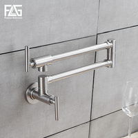 FLG Flexible Kitchen Faucet Wall Mounted Single Handle 304 Stainless Nickel Brushed Steel Mixer Bar Taps