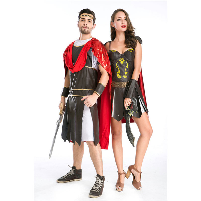 Umorden Halloween fête adulte hommes femmes romain grec soldat gladiateur Costume spartiate guerrier Costumes Cosplay pour Couple 2 ensemble - 4